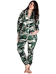 Women's Teens Army Camouflage Print Onesie XX-Small Charcoal