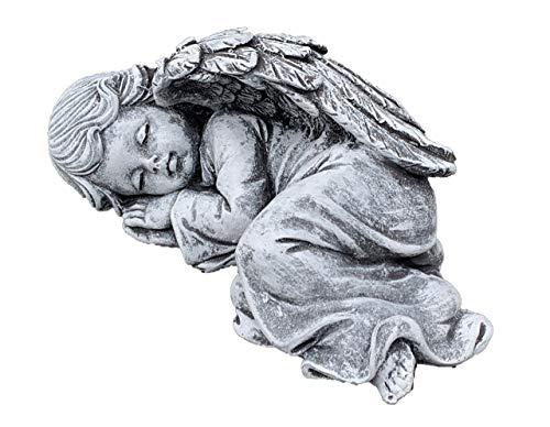 Stone and Style Steinfigur träumendes Engelchen liegend, massiver Steinguss, Frost- und wetterfest bis -30°C