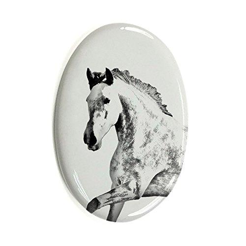 ArtDog Ltd. Andalusischen, Oval Grabstein aus Keramikfliesen mit Einem Bild von Einem Pferd