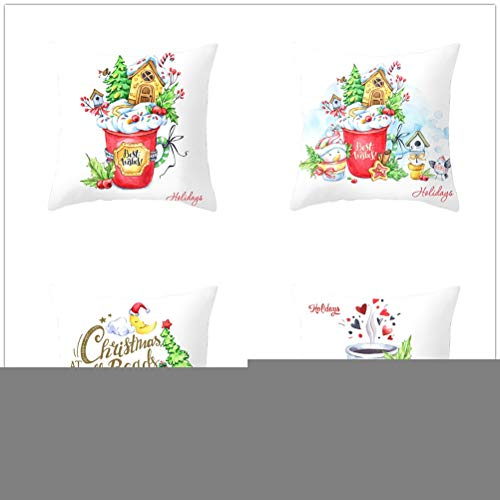 4 Pack Cushion Covers Throw Pillow Case Velvet Double Sided Soft Square Decorative Pillowcase Home Decor for Sofa Car Living Room with Invisible Zipper E5371 35x35cm/13.7x13.7in