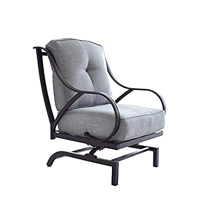 Top Space Rocking Motion Patio Chair Outdoor Deep Seating Club Chair Metal Furniture Set with Soft Cushion Sturdy Metal Frame Furniture for Garden Yard Lawn Poolside (1PCS, Grey)