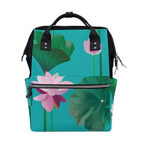 Emerald Green Lotus Leaf Fresh Beauty Bolsas de pañales de gran capacidad Mamá Mochila Múltiples funciones Bolso de lactancia Bolso Tote Bolso para niños Cuidado de bebés Viajes diarios Mujeres