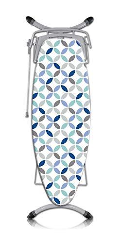 Rotel Bügelbrettbezug/Bügeltischbezug in weiß mit elegantem Kreismuster in den Farben grau, hellblau, dunkelblau und schwarz - Maße: ca. 140 x 60 cm, mit Schnurrzug