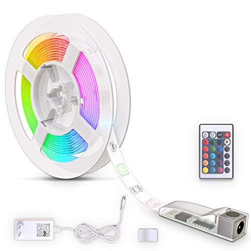 B.K.Licht LED Strip 3m, silikonbeschichtet, RGB, Fernbedienung, selbstklebend, Farbwechsel, kürzbar, LED Stripes, Lichterkette, Band, Streifen, LED Leiste, LED Lichtleiste, Weiß