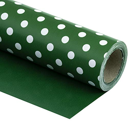 WRAPAHOLIC Reversible Wrapping Paper - Dark Green and Polka Dot Design for Birthday, Holiday, Wedding, Baby Shower Wrap - 30 inch x 33 feet