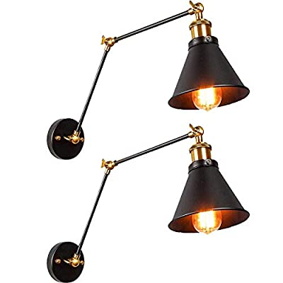 JIGUOOR Plug in Wall Sconce, Swing Arm Wall Lamp With Plug in Cord, Vintage Industrial Wall Mounted Light Fixtures with On Off Switch for Living Room, Bedroom, Bathroom, Farmhouse, E26 Base, UL Listed