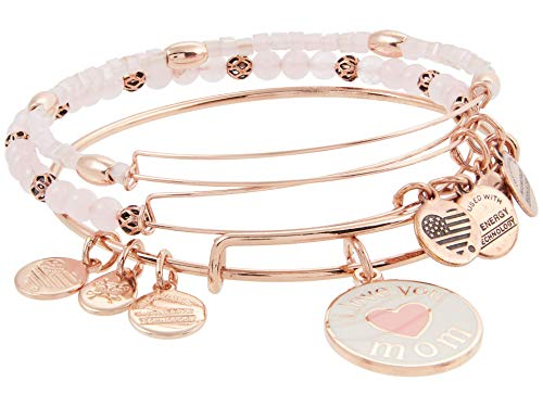 Alex and Ani I Love You Mom Bracelet Set of 3 Rose Gold/White/Pink One Size