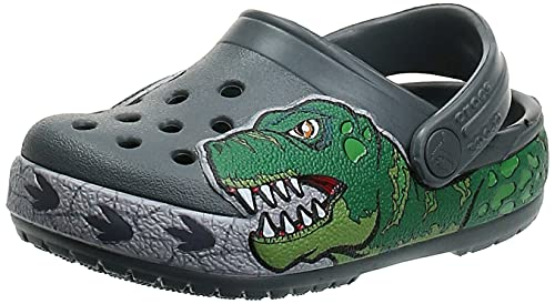 Crocs unisex baby Fun Lab Dino Band Lights | Light Up Shoes, Slip on Water Shoes for Boys, Girls Clog, Slate Grey, 6 Toddler US