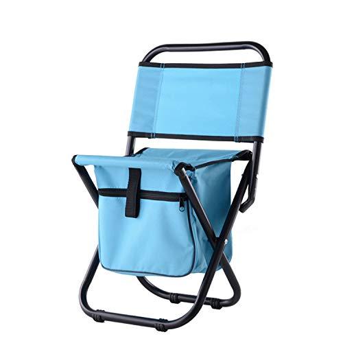 HT&PJ Silla de camping plegable, silla portátil plegable de jardín con bolsa de refrigeración de tela y mochila de respaldo, adecuada para picnic, pesca, camping, senderismo y viajes de playa