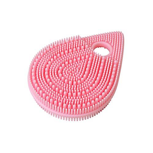 東和産業 ボディブラシ ピンク 約9.9×7×1.7cm シリコンマッサージブラシ フェイス用