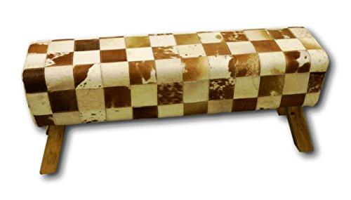 Retro Vintage Sitzbank Springbock Bank Polsterbank Massivholz Holz mit Kuhfell Fell Echtfell Leder Bezug Karo