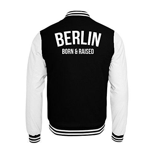 PlimPlom Berlin College Jacke In Schwarz/Weiß Hauptstadt Born & Raised (XL)