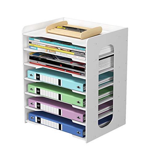 PUNCIA Organizador de papel de oficina de 7 niveles para escritorio, soporte de archivos, bandeja de cartas y soporte de papel A4, estante de almacenamiento de documentos para casa, oficina, escuela