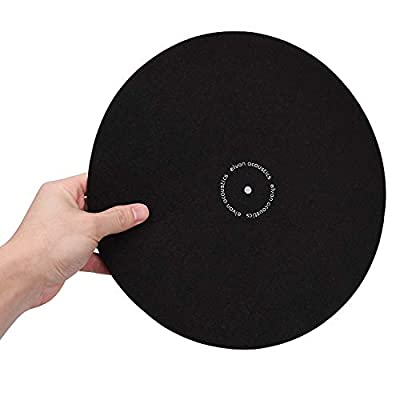 Turntable Slipmat Anti-Static Wool Mat - 12 inches Phonograph LP Vinyl Record Player Black Mat - Improves Sound & Reduces Noise