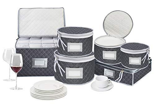 Geschirraufbewahrung and weinglas aufbewahrung, Geschirr Aufbewahrung zum Schutz oder Transportieren von Teller set, Geschirr,Becher, Gläser,Kaffee, 48 Filz Teller Teiler für Teller, 6er Set Grau