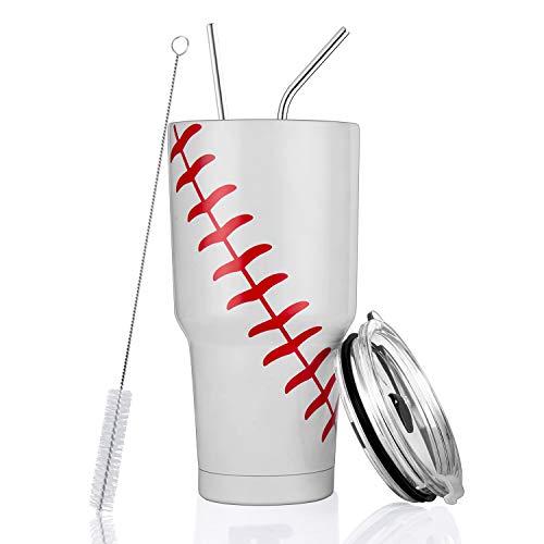 Joyclub Baseball-Becher aus Edelstahl, doppelwandig, vakuumisoliert, Reisebecher mit Deckel, Strohhalm und Reinigungsbürste