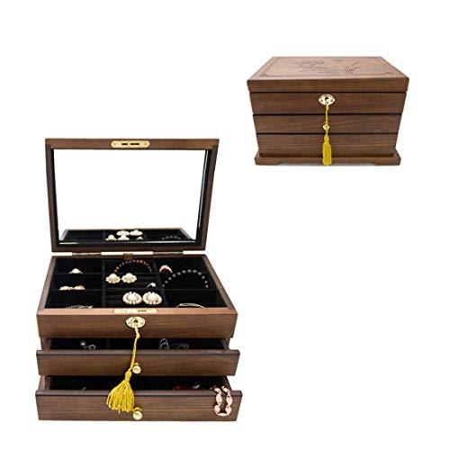 Preisvergleich Produktbild ZEH Holz Schmuck Storage Box mit Schloss Schmuck Flanell Schmuckschatulle Haushalt Retro Ohrringe Halskette Armband Schmuck BO FACAI