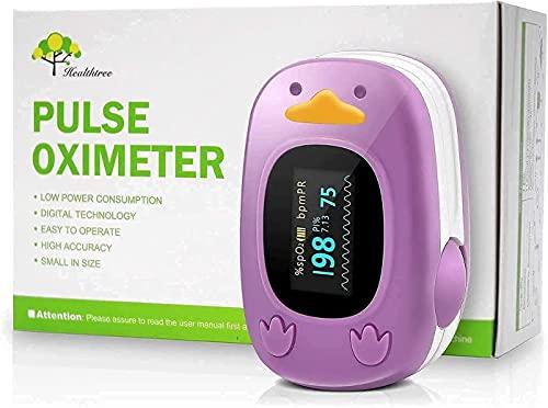 Monitor de oxígeno en la punta de los dedos, monitor de saturación de oxígeno en sangre con monitor de frecuencia cardíaca para bebés y pediátricos con pantalla OLED y pilas