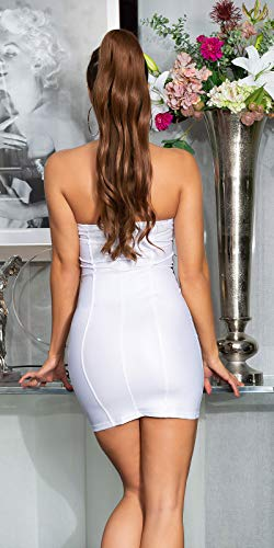 Koucla - Vestido de fiesta para mujer, aspecto mojado, con encaje, Blanco, S