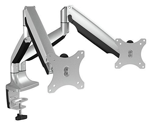 Icy Box IB-MS504-T Monitor-Tischhalterung für zwei Displays bis zu 32 Zoll (81cm) Vesa, Kabelführung, Dreh-/neigbar, Ergonomisch