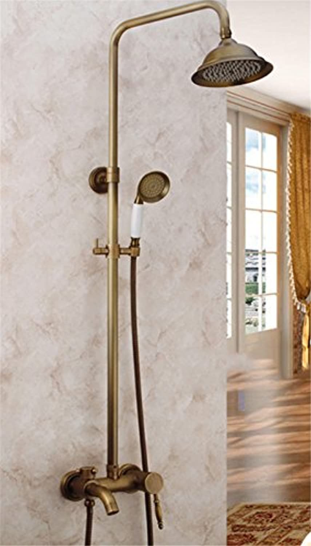 Bijjaladeva Antike Badezimmer Regen Mixer Dusche Regendusche Hahn System TippenContinental Antikes Messing - Dusche Badezimmer Wasserfall Wasserhahn an der Wand Regendusche Dusche