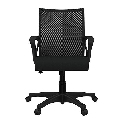 GODREJ INTERIO Stainless Steel Fixed Armrest Oxbo Mid Back Office-Study Fabric Chair, Suitable for Work from Home, Black