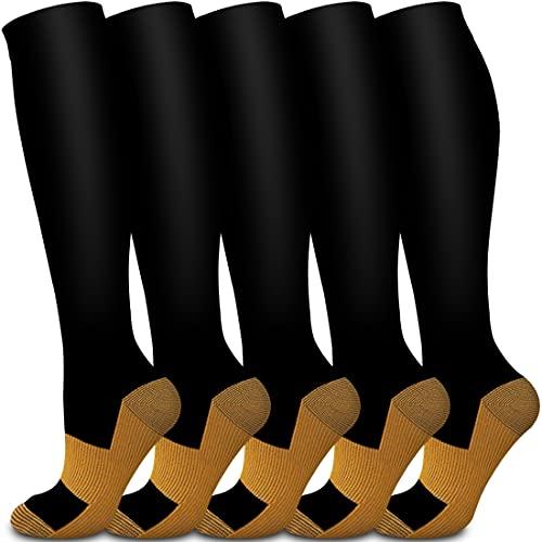 Meias de compressão de cobre Bluemaple para homens e mulheres, melhores para corrida, atlético, varizes, amamentação, caminhadas, recuperação e meias de voo., H-Assort10, L/XL(US Women8-15.5/US Men8-14)