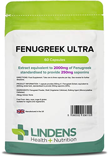Lindens Fenugreek Ultra 2000mg Capsules | 60 Pack | Ultra Potent, yielding 250mg saponins per Capsule, Popular for anabolic Support