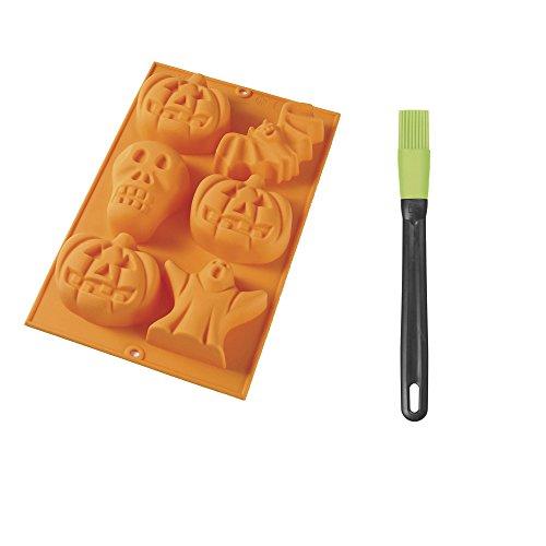 Lékué 3000069SURM017 Moule Halloween avec Pinceau pour 6 pièces Orange, Silicone, 30 x 19,5 x 4 cm