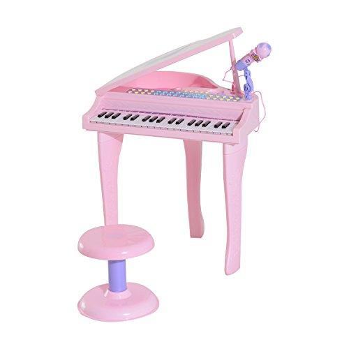 homcom Pianoforte Elettrico Giocattolo Strumento Musicale per Bambini con 37 Tasti Microfono e Sgabello 48x39x69cm Rosa