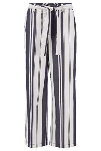 BOSS Damen Selenore Regular-Fit Hose in Cropped-Länge mit Streifen-Mix und Bindegürtel