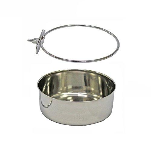 Pet Dog Coop Cups Edelstahl Futternapf mit Klemmung–Abnehmbare Hund Katze Käfig Hundehütte zum Aufhängen Metall Lebensmittel Wasser Futternapf, XL, silber