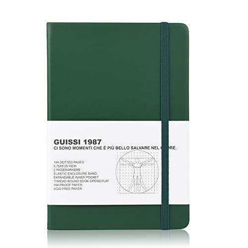 Guissi バレットジャーナル ハードカバー ノート 手帳 A5 ドット ノート 144 ページ