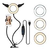 Andoer Anillo de luz LED de 5 Pulgadas, 3800K-6800K 3 Colores Aro de Luz Regulable con Soporte Ajustable Soporte para teléfono para Selfie Maquillaje Youtube Tiktok