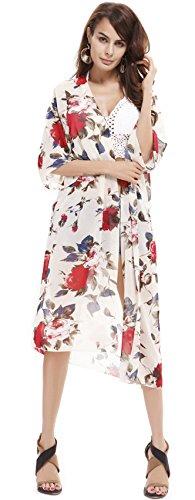 Manga 3/4 Manga Estilo Kimono Bohemio Boho Étnico Tribal Flor Flores Chifón Camisola de Playa Cardigan Blouse Blusón Blusa Shirt Camisa Top Blanco
