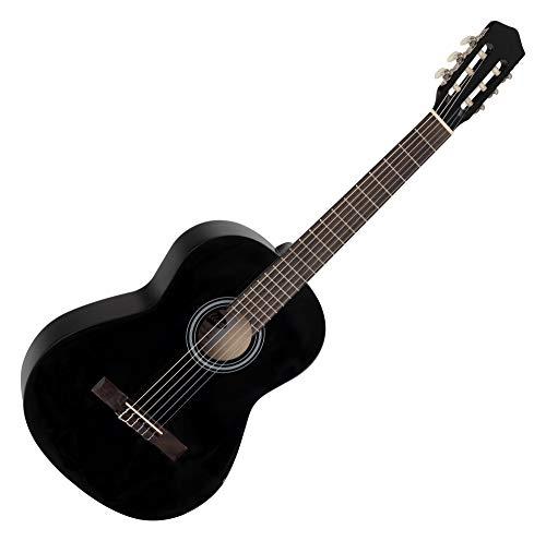 Calida Benita 4/4 Konzertgitarre Schwarz (Akustikgitarre mit 18 Bünden, geeignet für Kinder im Alter ab 12 Jahren, Bundmarkierung, Nylonsaiten, 1010mm Gesamtlänge)