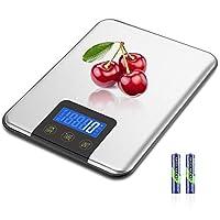 mosuo bilancia da cucina digitale, 15 kg/1g bilancia elettronica de cucina in acciaio inossidabile, bilance alimenti elettronica precisione con display lcd, funzione tare (batterie incluse)