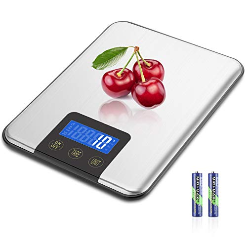 MOSUO Báscula Digital para Cocina, 15KG/1G Balanza de Cocina Báscula Electrónica de Acero Inoxidable, Balanza de Alimentos Multifuncional con Pantalla LCD, Función de Tara (Baterias Incluidas)