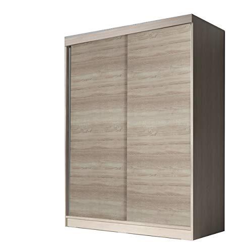 mb-moebel Moderner und funktionaler SchiebetürenSchrank Kleiderschrank Schrank Garderobe Zweitürenschrank Schwebetüren 2-Türig Schlafzimmerschrank 160 cm Eva (Sonoma)