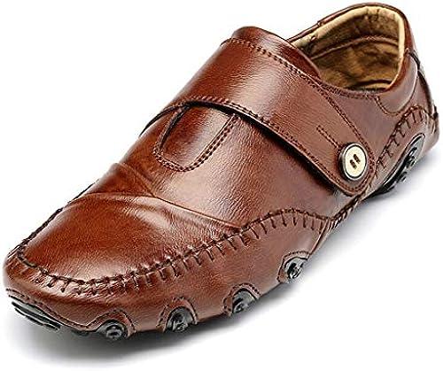 ChengxiO Herrenschuhe Frühling Neue Weißhe Boden Erbsen Schuhe Schuhe Schuhe Herren Pedal Faule Schuhe Business Casual Schuhe Komfortable Mode Fahren Schuhe Größe Größe Herrenschuhe (Farbe   braun, Größe   46)  Outlet-Store