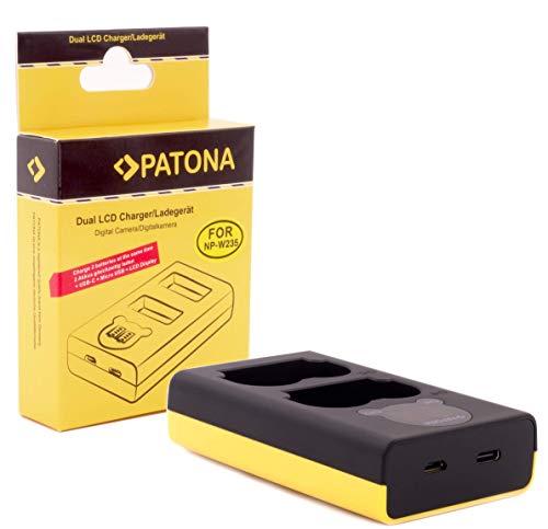 PATONA Ladegerät - kompatibel mit Akku Fujifilm NP-W235 für X-T4 - mit USB DUAL LCD 1888 - (Eingang USB-C oder Micro-USB)