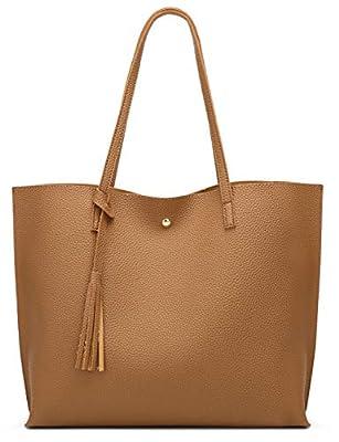 Women's Soft Faux Leather Tote Shoulder Bag from Dreubea, Big Capacity Tassel Handbag Brown 2
