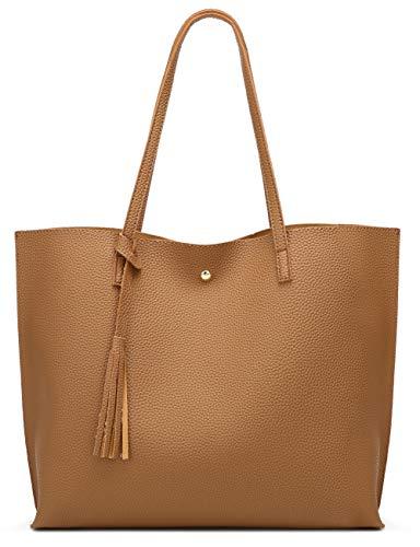 Women's Soft Faux Leather Tote Shoulder Bag from Dreubea, Big Capacity Tassel Handbag Raw Umber