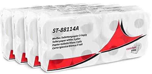 Hypafol Toilettenpapier - Comfort Size - | extra weiches, längeres Blatt | aus hochwertigem super weißem Zellstoff, motivgeprägt | 3-lagig | Rollen mit extra vielen Blättern | 4 x 8 Rollen