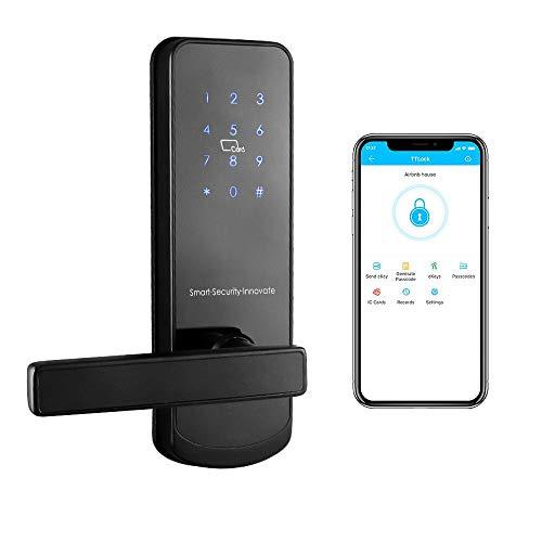 Smart Lock,YRHAND NX1 Touchscreen - Keyless Entry Door Lock with Auto-Lock Function, Digital Electronic Door Lock App Control for Home Front Door Hotel Apartment Office (Left Handle Black Nickel)