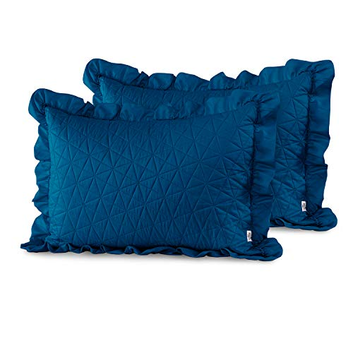 AmeliaHome Kissenbezüge mit Rüschen, Polyester, Tilia Blau, 2 50x70 cm