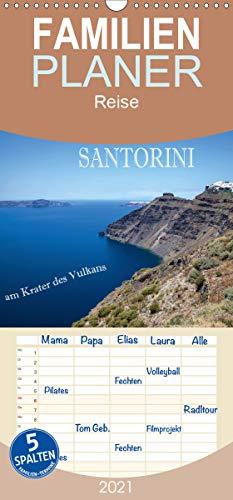 Santorini - Am Krater des Vulkans - Familienplaner hoch (Wandkalender 2021, 21 cm x 45 cm, hoch)