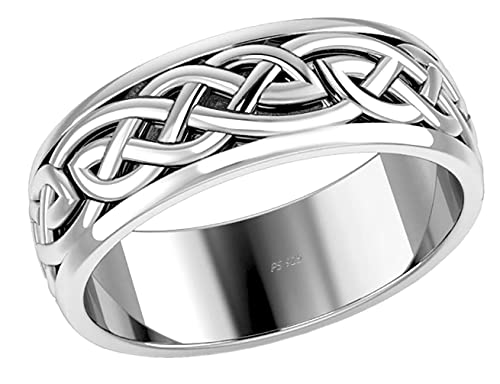 US Jewels Men's 925 Sterling Silver Irish Celtic Knot Wedding Spinner Ring Band, 13