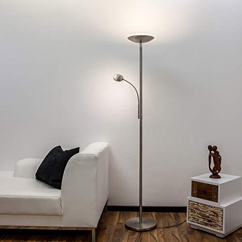 Lampenwelt LED Stehlampe 'Malea' dimmbar (Modern) in Alu aus Metall u.a. für Wohnzimmer & Esszimmer (2 flammig, A+, inkl. Leuchtmittel) - Wohnzimmerlampe, Stehleuchte, Floor Lamp, Deckenfluter