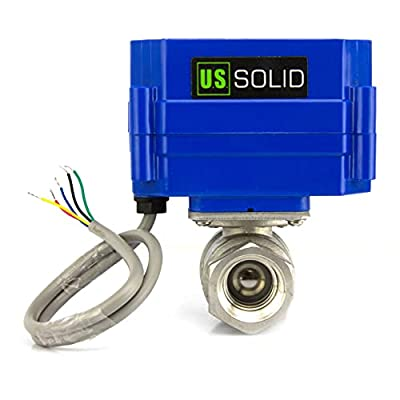 """Motorized Ball Valve- 1/2"""" Stainless Steel Electrical Ball Valve with Full Port, 9-24V DC and 5 Wire Setup, can be used with Indicator Lights, [Indicate Open or Closed Position] by U.S. Solid by U.S. Solid"""